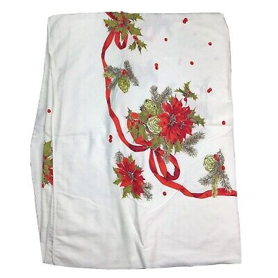 $ CDN34.94 • Buy Vintage Christmas Tablecloth Rectangle White Poinsettia