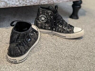 Black Sequin Converse High Tops Size 6 • 7.95£