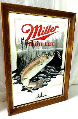 $79.94 • Buy Miller High Life Bar Mirror Wisconsin   Rainbow Trout   5th In Series