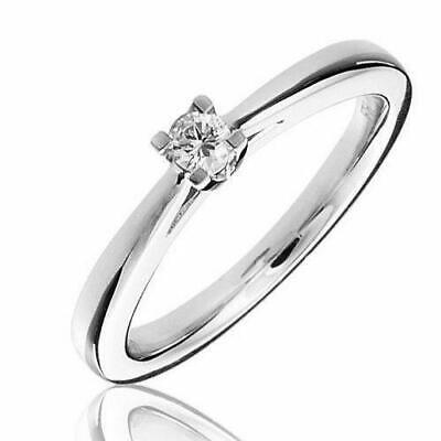 AU441.58 • Buy 1/4ct I1-h Round 4 Claw Solitaire Diamond Engagement Ring Solid 9k White Gold