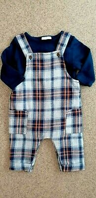 Baby Boys 2-Piece Dungaree Romper/Bodysuit Set By Next Baby Age: 0-3 Months • 6£