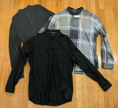 $33 • Buy Express Mens Button Up Down Casual Shirt XL Lot Sweater American Rag All Black