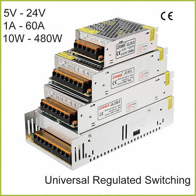 AU14.69 • Buy DC 5V-24V Universal Regulated Switching Power Supply 1A-60A 10W-480W LED 3D PSU