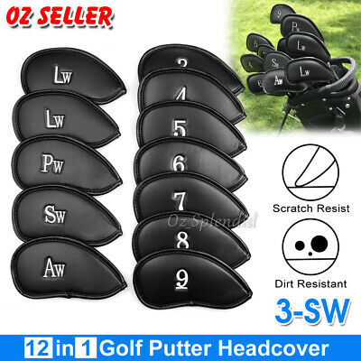 AU17.50 • Buy 12x Golf Club Iron Head Covers Set PU Leather Putter Universal Headcover Protect