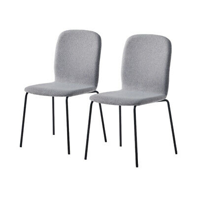 £29.99 • Buy 2 Pcs Grey Fabirc Dining Chairs Kitchen Dining Room Chairs Modern Metal Legs