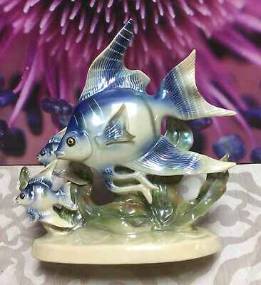 Vintage Jema Holland 261 Ceramic Lustre School Of Angel Fish Ornament • 6£