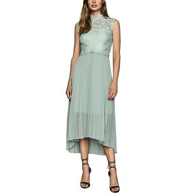 REISS Aideen Women's Lace Detail Pleated High Low Midi Dress Sage Green Size 6 • 57.17£