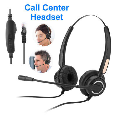 £10.99 • Buy RJ9 Call Center Telephone Headset Office Phone Headphone W/ Noise Cancelling Mic