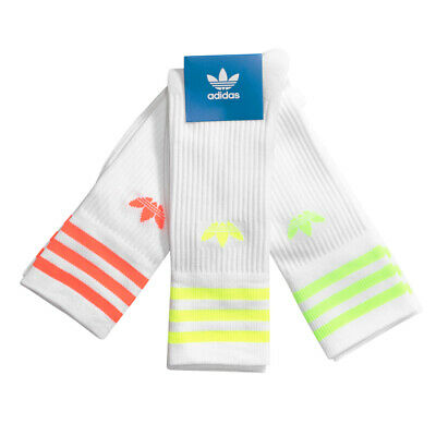 AU29.99 • Buy Adidas Solid  Crew Socks 3 Pairs In White And Flouro Colours Size 6-8.5