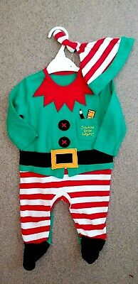 New Baby Girls 2-Piece Christmas Elf Hat/Sleepsuit Set By Nutmeg Age: 0-3 Months • 5£