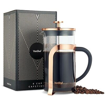 £16.99 • Buy VonShef Copper Cafetiere French Press Coffee Maker Stainless Steel 8 Cup Plunger