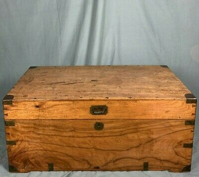 19th Century Military Brass Bound Camphorwood Trunk With Carrying Handles • 850£