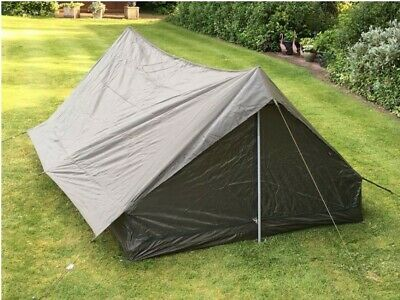 French Army 2 Man Military Tent Survival Camping Bushcraft Waterproof Green Camo • 35£