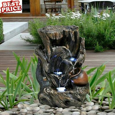 £77.96 • Buy Large Garden Fountain Water Feature Pump LED Lights Cascade Tree Statue Decor 41