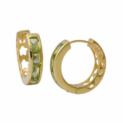 AAA Peridot 925 Sterling Silver  Hoop  Earrings. 5.00 Carets. • 19.99£