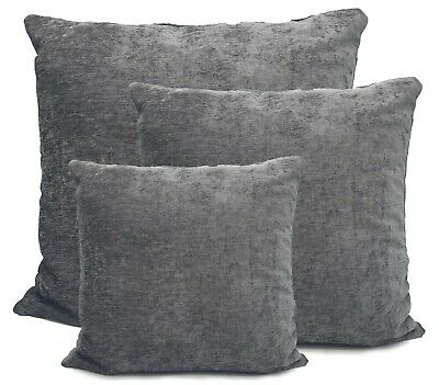 £7.99 • Buy Large Cushions Chenille Scatter Cushions Or Covers Plain SILVER