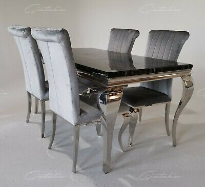 £374.99 • Buy Liyania 140cm Black/Grey/Ivory-Cream/White/Marble Chrome Dining Table And Chairs