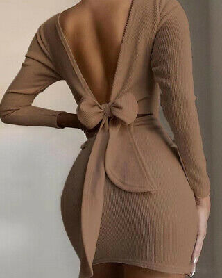 £11.59 • Buy Women Slim Backless Bow Knot Knitted O-Neck Long Sleeve Sexy Mini Bodycon Dress