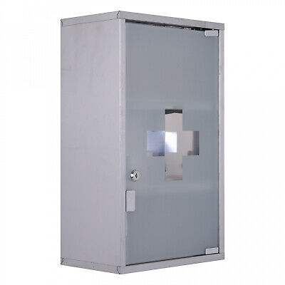 Stainless Steel Medicine Cabinet Wall Mounted Lockable First Aid Cupboard 3 TIER • 34.99£
