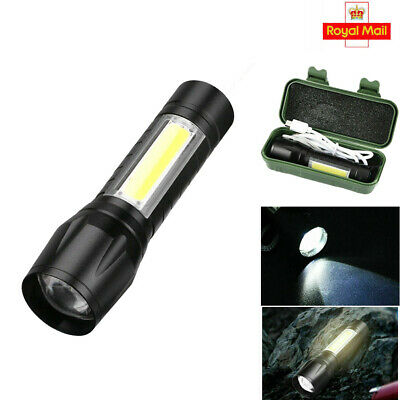 Mini USB Rechargeable LED Torch Flashlight Police Zoom Camping Hiking Lamp UK • 2.19£