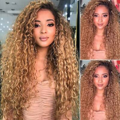 £16.89 • Buy Women Brazilian Real Natural Hair Long With Hair Deep Wave Curly Full Wigs Party