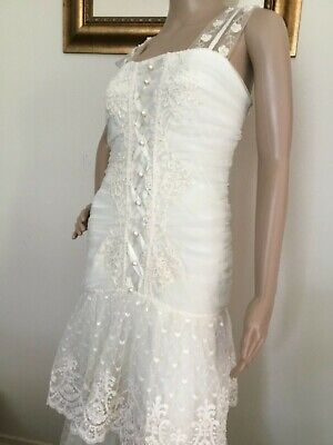 AU110.26 • Buy 80's Vintage Ivory Beaded Floral Lace Tiered Skirt Wedding Dress