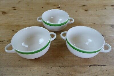 3 Vintage Sampson Bridgwood Ironstone Two Handle Soup/Cereal Bowls Green/White • 5£