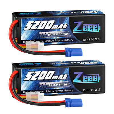 AU90.99 • Buy 2x 11.1V 3S 5200mAh EC5 LiPo Battery 80C For RC Car Truck Buggy Boat Helicopter
