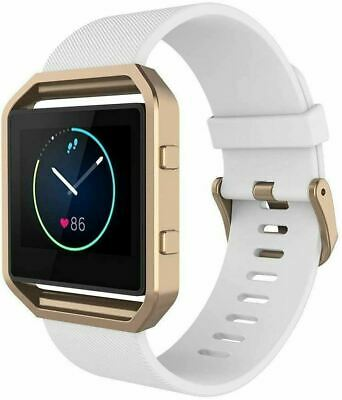 AU38.39 • Buy Band For Fit Bit Blaze, Silicone Wrist Strap With Metal Frame- White Rose Gold