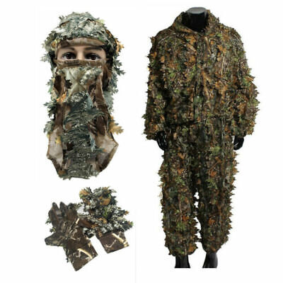 Camo Sniper Ghillie Suit 3D Camouflage Leaf Clothing Hat Gloves Woodland Hunting • 27.97£