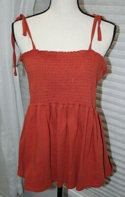 Forever 21+ Plus Women's Smocked Cami Top Rust Tie Straps Stretch Curvy Size 3X • 4.34£