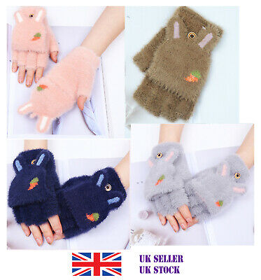 Ladies Girl Knitted Mittens Wool Gloves Convertible Half Fingerless Cover Rabbit • 4.85£