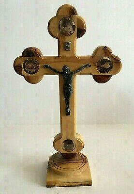Trefoil Olive Wood 10  Standing Crucifix Incense Soil/Stations Of The Cross • 21.27£