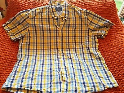 Mens ATLANTIC BAY Short Sleeved Shirt XXL  47 -50  Yellow Blue White Checked • 4.50£