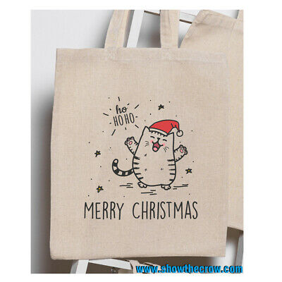 """£1.99 • Buy """"Merry Christmas Cat"""" 100% Premium Cotton Tote Gift Shoppers Bag"""