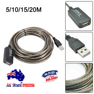 AU12.89 • Buy 5/10/15/20M USB 2.0 Active Repeater Male-to-Female Extension Cable Adapter Cord