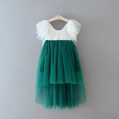 Bohemian Emerald Lace High Low Tulle Flower Girl Party Occasion Dress • 32.99£