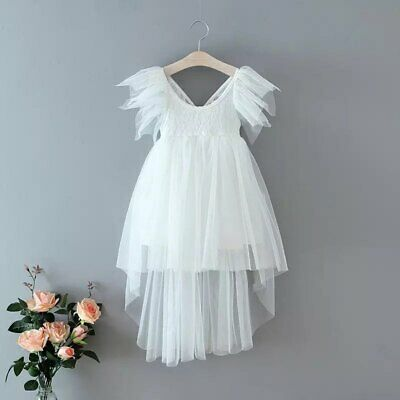 Bohemian White Lace High Low Tulle Flower Girl Party Occasion Dress • 34.99£
