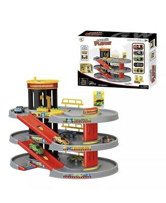 Kids Boys Car Parking 3 Storey Toy Garage Petrol Station Play Set 5 Cars 8988A7 • 17.99£