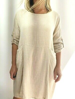 AU24.99 • Buy Ladies New Italian Natural Linen Dress In Sizes -  S/m/l/xl.