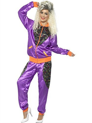 Retro Shell Suit Costume, Ladies, Purple, With Jacket & Trousers - .. COST-W NEW • 20.79£