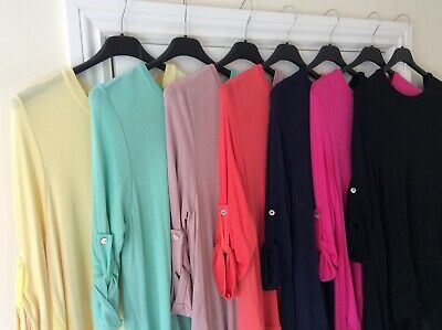 FABULOUS Made In Italy Lagenlook High/Low Dress/Top - 7 COLOURS - One Size 8-14 • 19.99£