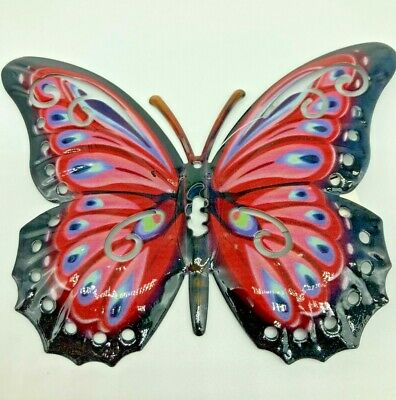 Butterfly Wall Art Red Metal Garden Ornament Indoors Outdoors With Eyehole • 6.99£