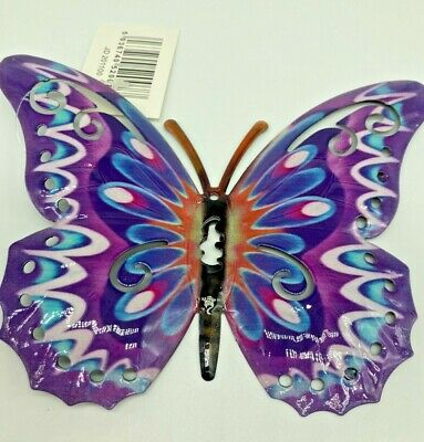 Butterfly Wall Art Purple Metal Garden Ornament Indoors Outdoors With Eyehole • 6.99£