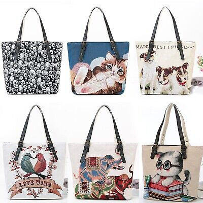 Women's Canvas Tote Bag Sewn Embroidery Christmas Gift • 17.99£