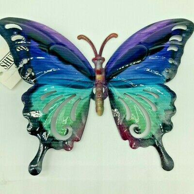 Butterfly Wall Art Blue Green Metal Garden Ornament Indoors Outdoors With Tails • 6.99£