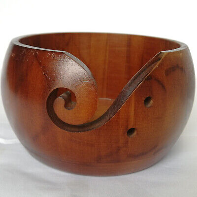 Wooden Yarn Bowl 6 X3  Holder Knitting Crochet Winder Threads Holder Brown • 12.19£
