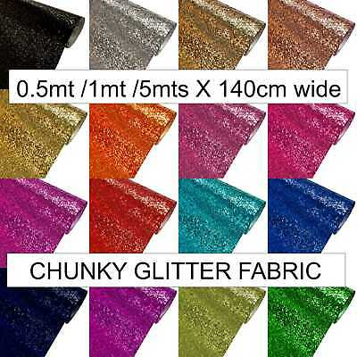 £1.99 • Buy Chunky Glitter Fabric Craft Bows Sparkly Wallpaper Sold By Meter 137cm Roll