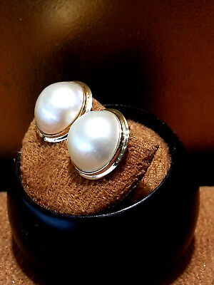 $265 • Buy 14K Yellow Gold Round Mabe Pearl Stud Earrings.Ivory.