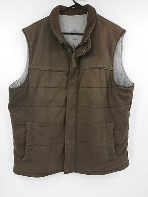 $24.88 • Buy Tommy Bahama Brown Vest Lined Zip Front Size Large Ribbed Collar Pockets Heavy